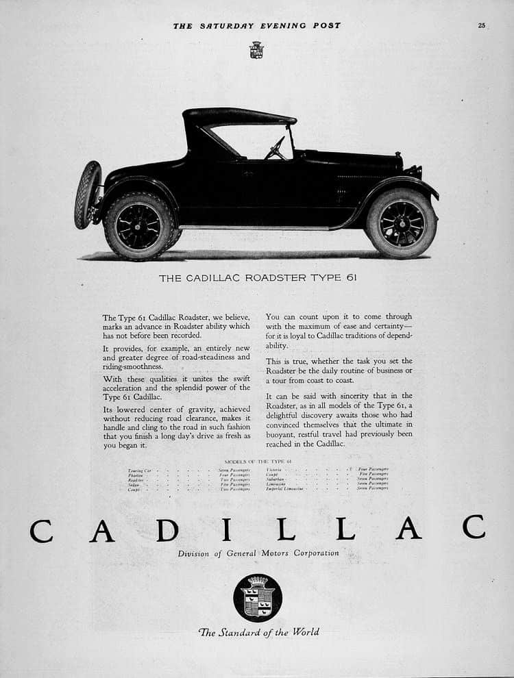 Cadillac ad from 1921 from Wikipedia